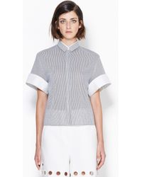 3.1 Phillip Lim Boxy Top With Rolled Cuffs - Lyst