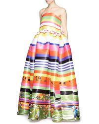 Fyodor Golan Rainbow Poppy Stripe Flounce Gown - Lyst