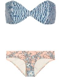 Zimmermann Porcelain Printed Bandeau Bikini - Lyst