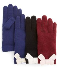 Kate Spade Colorblock Bow Tech Gloves - Lyst