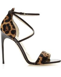 Brian Atwood Tamy Printed Calfhair Sandals - Lyst