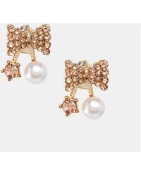 Asos Bow Faux Pearl Swing Earrings - Lyst