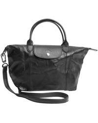 Longchamp Black Leather Convertible Top Handle Bag - Lyst
