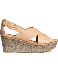 H&M Wedge-Heel Leather Sandals beige - Lyst