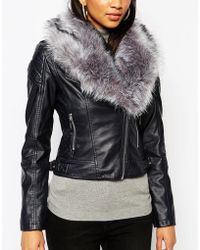 Lipsy - Michelle Keegan Loves Pu Jacket With Faux Fur Collar - Lyst