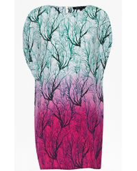 French Connection Sea Fern Silk Dress multicolor - Lyst