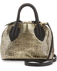 Foley + Corinna Cassis Mini Croc-Embossed Leather Satchel Bag - Lyst