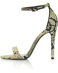 Topshop Ruby Snake Effect High Heel Sandals - Lyst