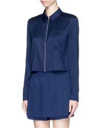 T By Alexander Wang Stretch Silk Blend Twill Cropped Shirt blue - Lyst