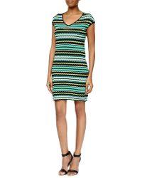M Missoni Pebbled V-Neck Stretch Dress - Lyst