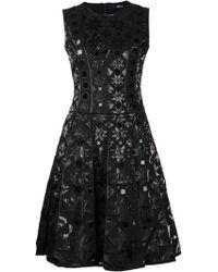 Ktz Black Embossed Dress - Lyst