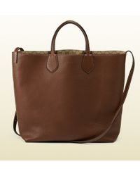 Gucci Ramble Reversible Leather and Original Gg Canvas Tote - Lyst