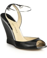 Paul Andrew Metal Ankle Strap Wedge Sandals - Lyst