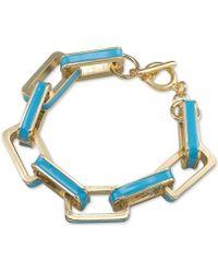 Carolee Gold-Tone Turquoise Enamel Rectangle Link Bracelet - Lyst