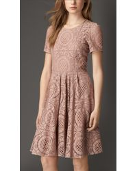 Burberry English Lace A-Line Dress - Lyst