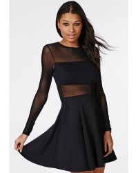 Asos Collection Long Sleeve Skater Dress With Ballet Wrap