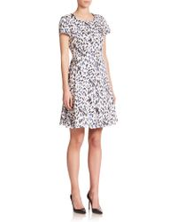 Armani Robin-Print Flare Dress multicolor - Lyst
