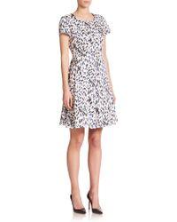 Armani Robin-Print Flare Dress - Lyst