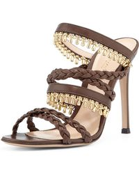 Gianvito Rossi Beaded Leather Strappy Mule Sandal - Lyst