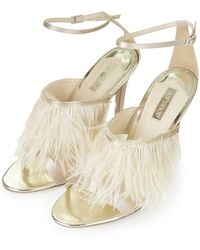 Topshop Rizo Feather Strap Sandals - Lyst