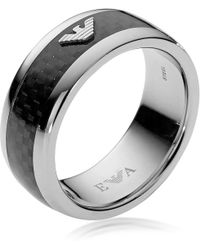 Emporio Armani - Iconic Carbon Fiber And Stainless Steel Men's Ring - Lyst