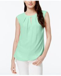 Cece by Cynthia Steffe - Pleated Sleeveless Keyhole Top - Available In Multiple Colours - Lyst