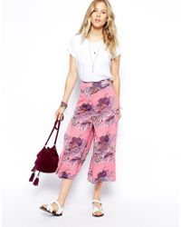 Asos Asos Crop Wide Leg Pant in Pretty Print - Lyst