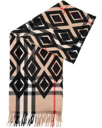 Burberry Animal Printed Helene Cashmere Wool Pocket 40x190cm Stole - Black