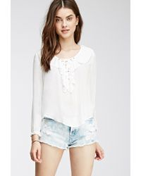 Forever 21 Ruffled Lace-Up Blouse - Lyst