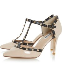 Dune - Cliopatra Studded T-bar Court Shoes - Lyst