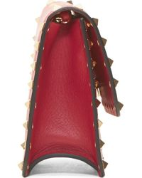 Valentino Raspberry Leather Gold Rockstud Small Shoulder Bag - Lyst