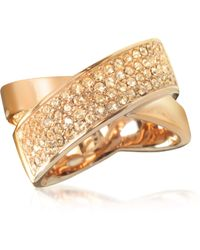 Michael Kors Pave-crystal Twist Rose Golden Stainless Steel Women's Ring - Metallic