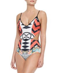 Clover Canyon Toucan Cutout One-Piece Swimsuit - Lyst
