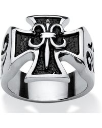 Palmbeach Jewelry - Men's Square Cross Ring In Stainless Steel - Lyst