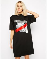 Cheap Monday Roll Neck Dress With Tape Detail - Lyst