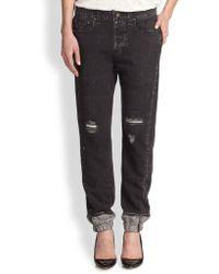 Rag & Bone/JEAN Denim-Print Cotton Jersey Track Pants - Lyst