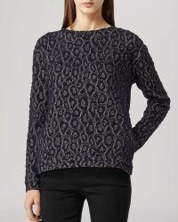 Reiss Drake Metallic Animal Print Sweater  - Lyst
