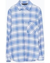Zara Plaid Shirt With Pocket - Lyst