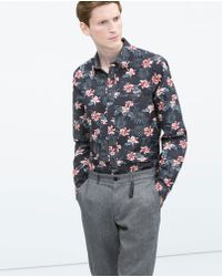 Zara Floral Print Shirt - Lyst
