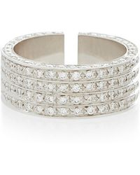 Maison Dauphin - White Gold And Diamond Four Row Ring - Lyst