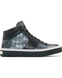 Jimmy Choo Black and Pewter Croc_embossed Belgrave Sneakers - Lyst