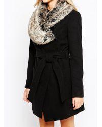 Oasis Faux Fur Collar Premium Belted Coat - Black