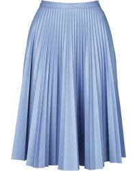 Topshop Pu Pleated Midi Skirt  Grey Blue - Lyst