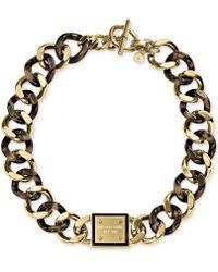 Michael Kors Gold-Tone Tortoise Curb Chain Necklace - Lyst