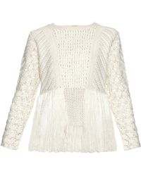 Adam Lippes | Fringed Crochet-panel Sweater | Lyst