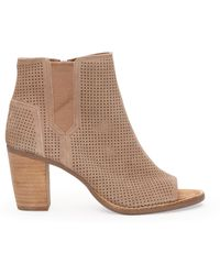 TOMS Stucco Suede Perforated Women'S Majorca Peep Toe Booties - Lyst