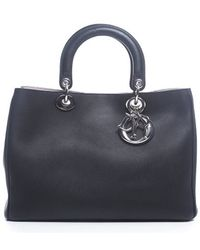 Dior Pre-owned Black Leather Medium Diorissimo Bag - Lyst