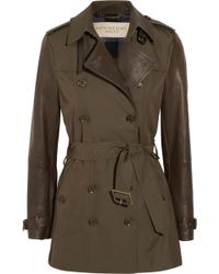 Burberry Brit - Leathersleeved Gabardine Trench Coat - Lyst