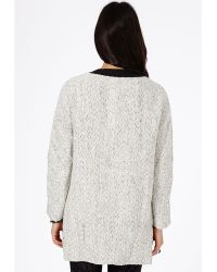 Missguided Petera Tweed Boyfriend Coat with Faux Leather Trim in Cream - White