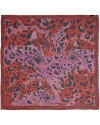Alexander McQueen Red Met Leopard Silk Scarf - Lyst